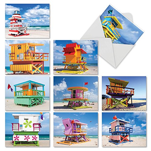 M4946OCB-B1x10 Life Savers: 10 Assorted Blank Note Cards Featuring Bright and Inviting Images of Lifeguard Stands, with ()