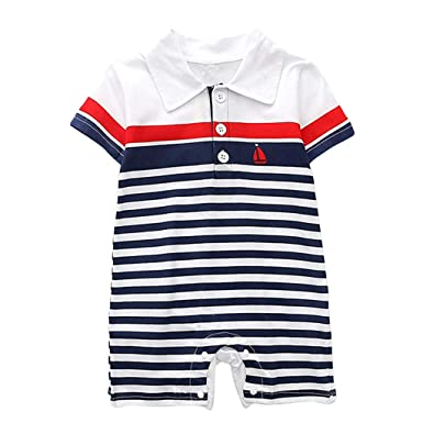 06f0af775d7 Baby Boys Girls Romper Clothes Infant Baby Short Sleeve Striped Print  Jumpsuit Shirt Bodysuit Outfits (