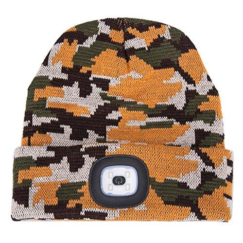 le LED Beanie Cap, Lighting and Flashing Alarm Modes Ultra Bright 4 LED Hands Free Flashlight Unisex Winter Warmer Knit Cap Hat (Camouflage - Orange) (Orange Camouflage Cap)