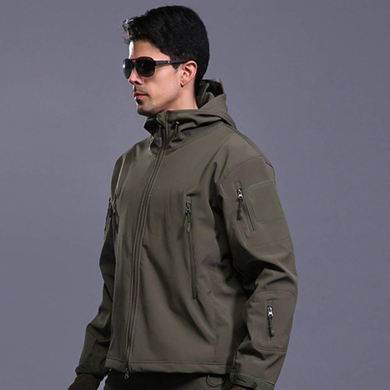 Lorenlli Transpirable Hombres Chaqueta Militar táctica al Libre Aire Libre al Impermeable a Prueba de Viento Mantener Caliente de Manga Larga con Capucha Abrigo Outwear Caliente 5d5898