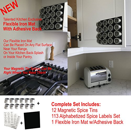 12 Magnetic Spice Tins, 113 Spice Labels and Flexible Board by Talented Kitchen. Round Storage Spice Rack Set of 12, Clear Top Lid w/Sift or Pour. Includes 113 PVC Spice Sticker & Flexible Magnet Mat