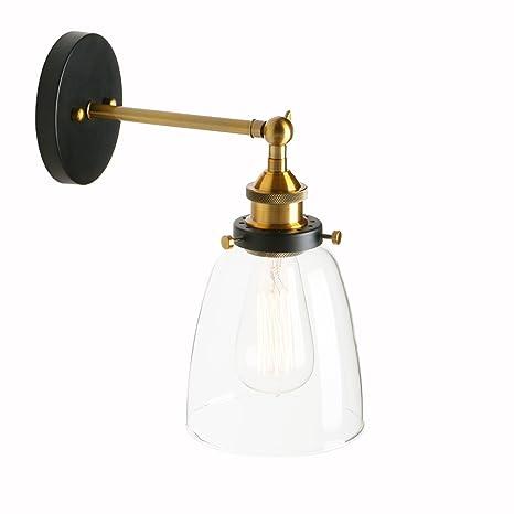 Pathson 14.2cm Bañadores de pared Pantalla apliques de vidrio ajustable Retro Industrial Apliques de Pared Lámpara de techo iluminación retro ...