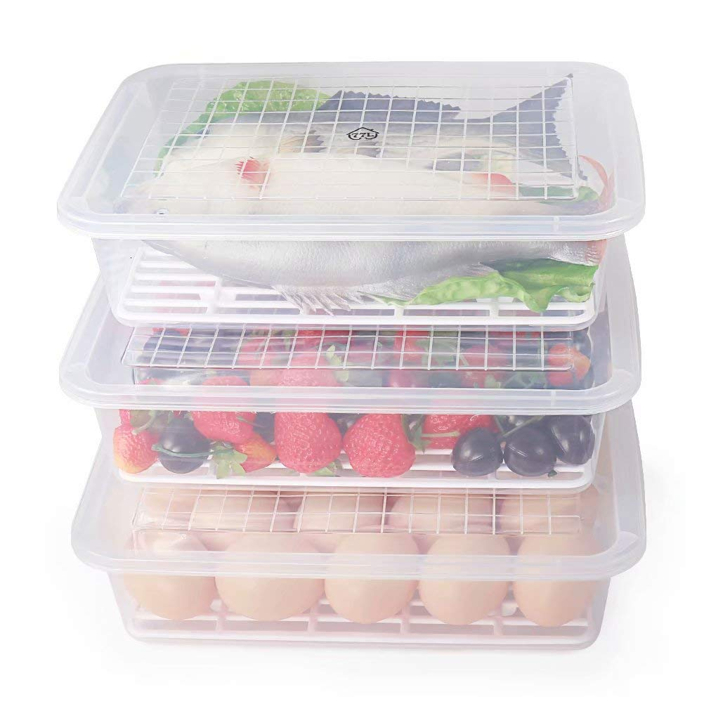 77L Food Storage Container, (3-Pack) Plastic Food Containers with Removable Drain Plate and Lid, Stackable Portable Freezer Storage Containers - Tray to Keep Fruits, Vegetables, Meat and More