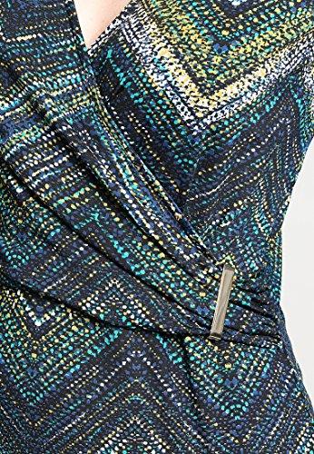 Anna Field Kleid Jersey Damen mit Cache Coeur Ausschnitt - Jerseykleid knielang mit Print Muster in Grün, Blau & Schwarz - Kleider elegant mit 3/4 Langarm