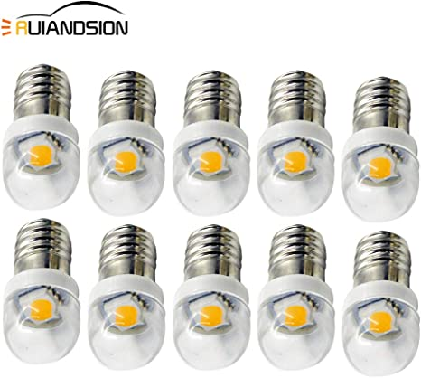 White Ruiandsion 10pcs 12V E10 LED Bulb White//Blue//Red//Green//Yellow E10 Base Socket LED Bulb Upgrade for Headlamps Flashlights Torch Headlight Mini Head Lamp,Negative Earth