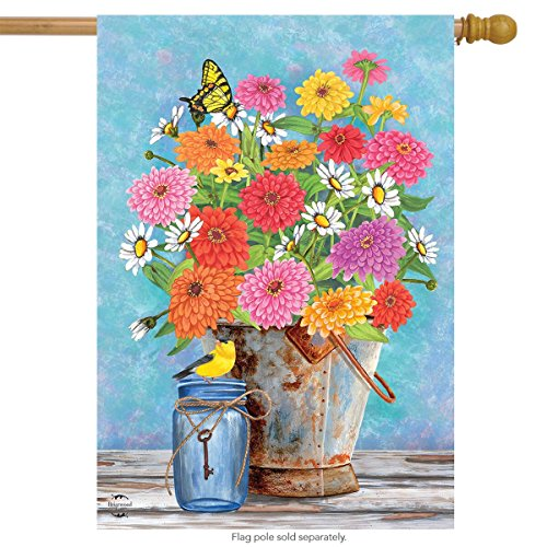 Briarwood Lane Zinnias Spring House Flag Floral Bucket 28