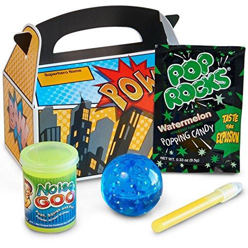 Superhero Comics Party Supplies - Filled Party Favor Box 4-Pack