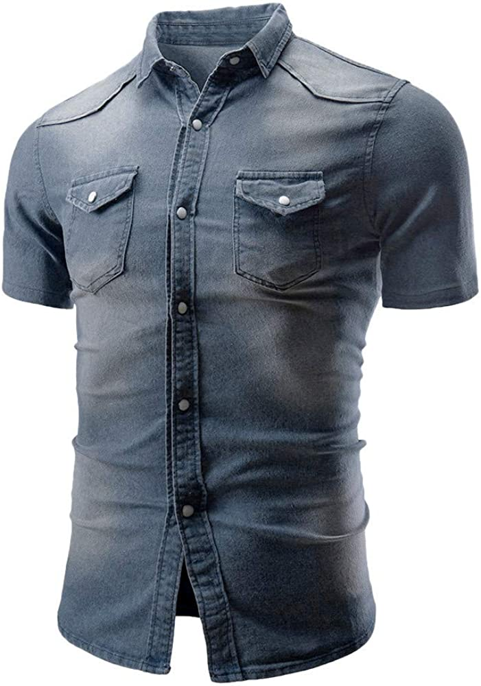 GDJGTA Tops for Mens Casual Slim Fit Button Shirt with Pocket Short Sleeve Tops Blouse