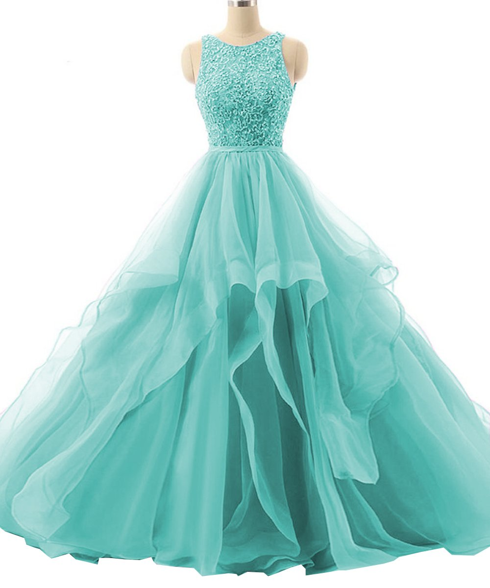 Sexy Backless Formal Sweet 16 Prom Ball Gown 2018 Long Lace Quinceanera Dresses Mint Green US10