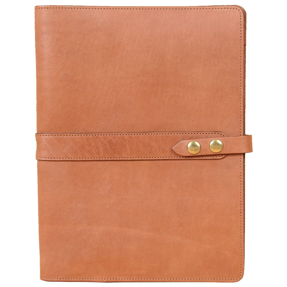 Leather Business Portfolio Notebook Folio Writing Pad Saddle Tan No.18 USA Made