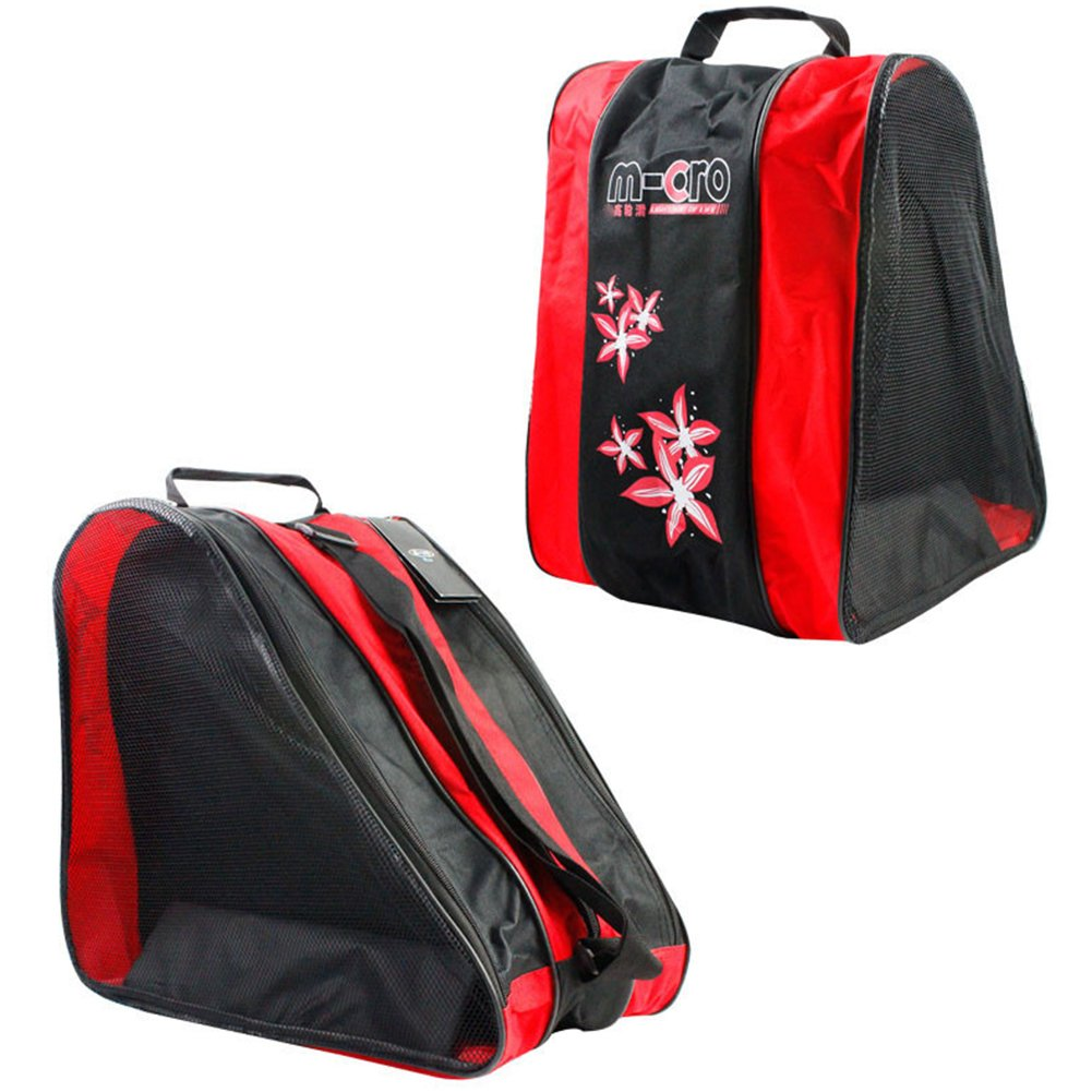 Borsa da skate - Meiwo Roller Ice / Roller a tre livelli pacchetto triangolare spalla Borsa da pattinaggio Oxford Leggero Borsa sportiva per bambini ragazzi ragazze, Rosso