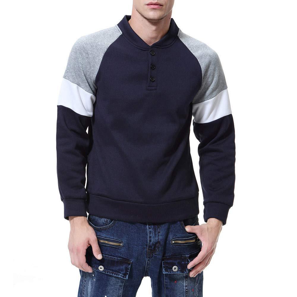 Hanomes Herren Pullover, Herren Herbst Winter Casual Patchwork Pullover Lose Sweatshirt Knopf Revers Tops Sweater