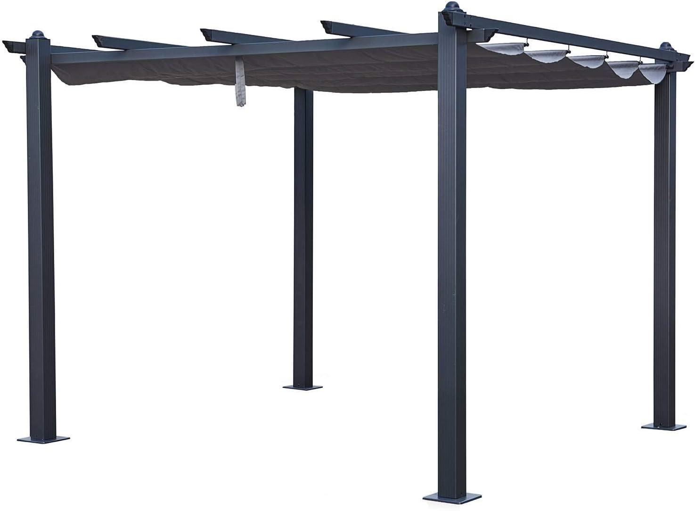 Tejido de poli/éster Deslizante Resistente al Agua y Resistente a los Rayos UV Gris Techo retr/áctil 3x3M P/érgola Independiente de Aluminio y Acero BENEFFITO LEGZIRA