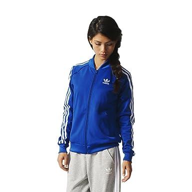 9454396fdb adidas Originals Women s 3 Stripe Supergirl Track Top - Blue - 18UK ...