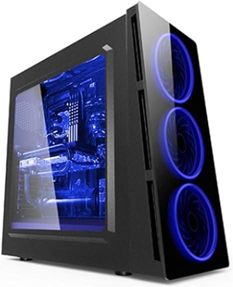 ZE Caja Torre Gaming 906 con LED Azul -906BL - Caja de Ordenador (Torre, PC, ABS sintéticos, SPCC, Negro, ATX,ITX,Micro ATX, 2.5,3.5