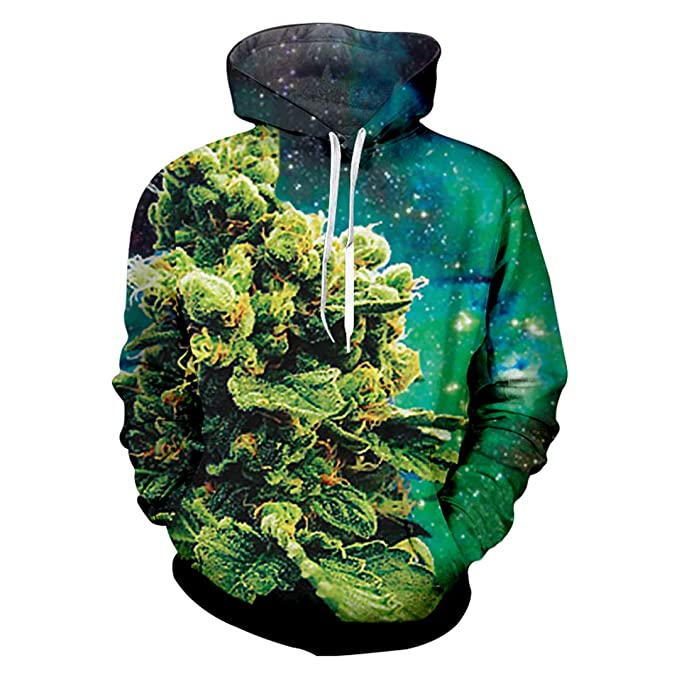 3fa55878e1e1 Image Unavailable. Image not available for. Color  Jihang Galaxy Space  Oversize Hoodies Mens Cool Print Alien Plants 3D ...