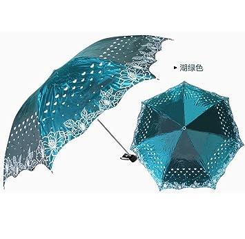 GT Manual Paraguas Plegable 3 Moda Creativa, Descoloramiento sombrilla Paraguas Cortavientos Resistente Paraguas Protector Solar