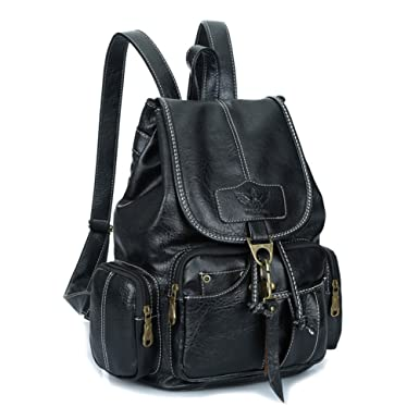 de3f2fd0103e Amazon.com  Womens New Fashion Backpack Vintage Style Waterproof Leather  Backpack Purse for Girls Black  Clothing