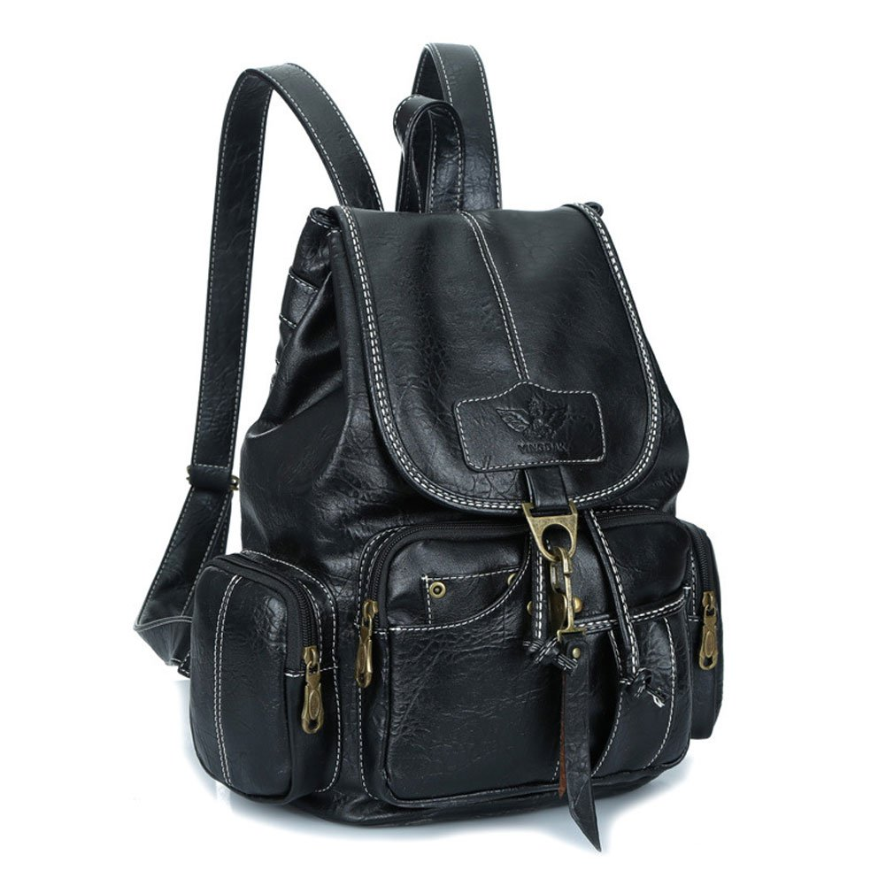 Womens New Fashion Backpack Vintage Style Waterproof Leather Backpack Purse for Girls Black