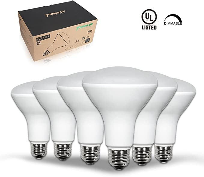 6 Pack 750lm CRI 90 65W Recessed Light Bulbs Daylight 5000K Energy Star /& UL Listed BR30 LED Flood Lights Indoor Dimmable