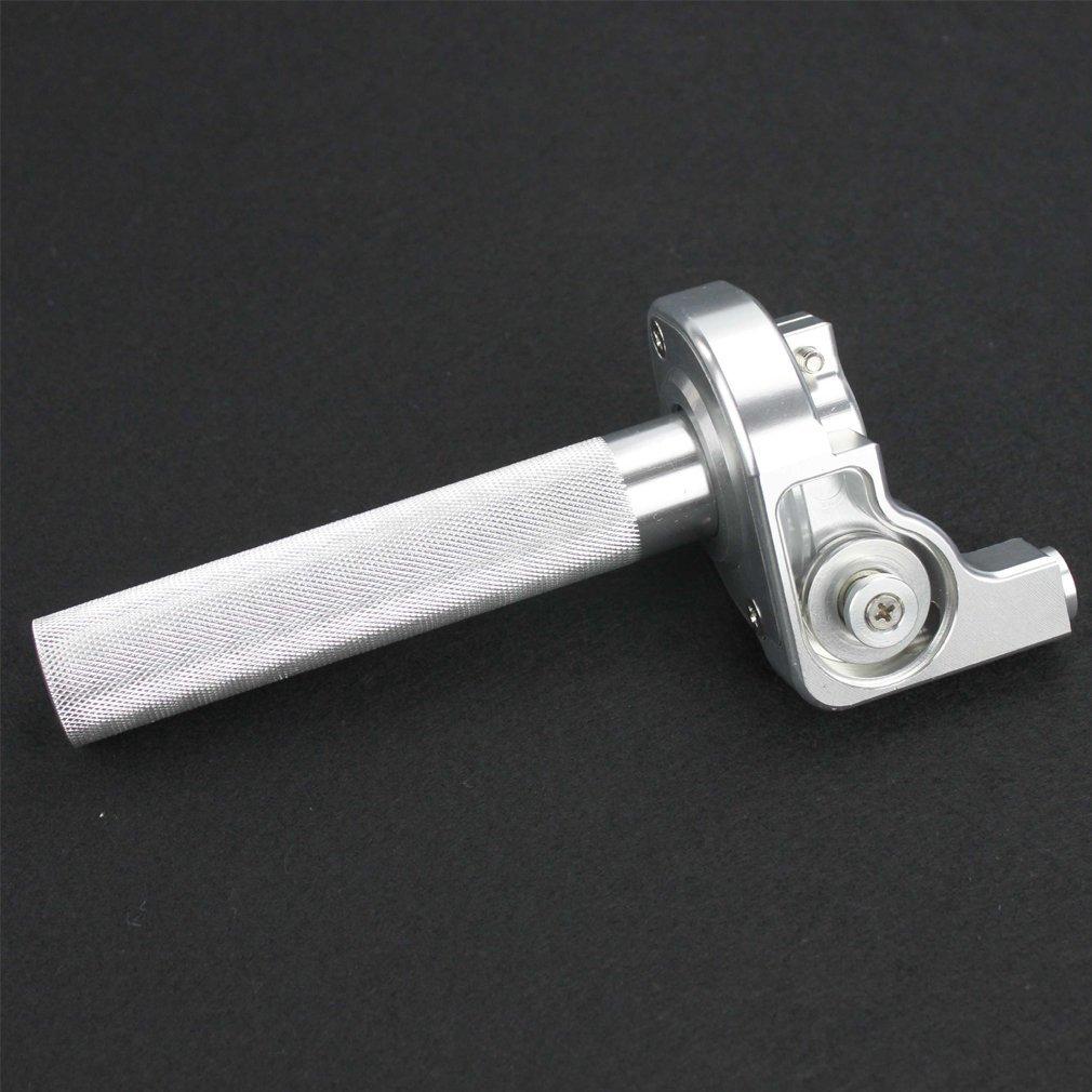 GOOFIT Performance CNC Silber Gasgriff Drehgriff Klampe f/ür Kawasaki KLX 110 KX 65 S