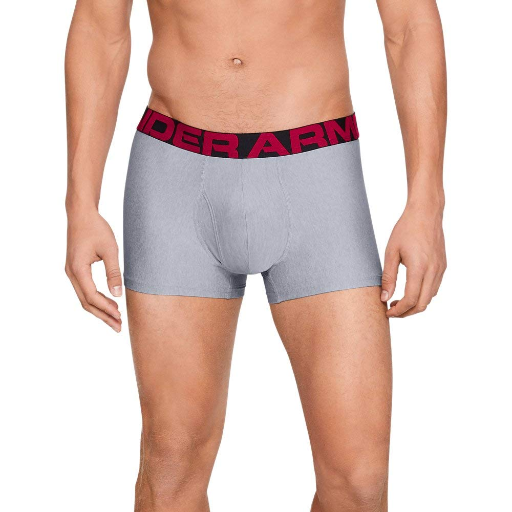 Under Armour Men's Tech 3'' Boxerjock - 1 Pack, Mod Gray Light Heather/Red, Small by Under Armour