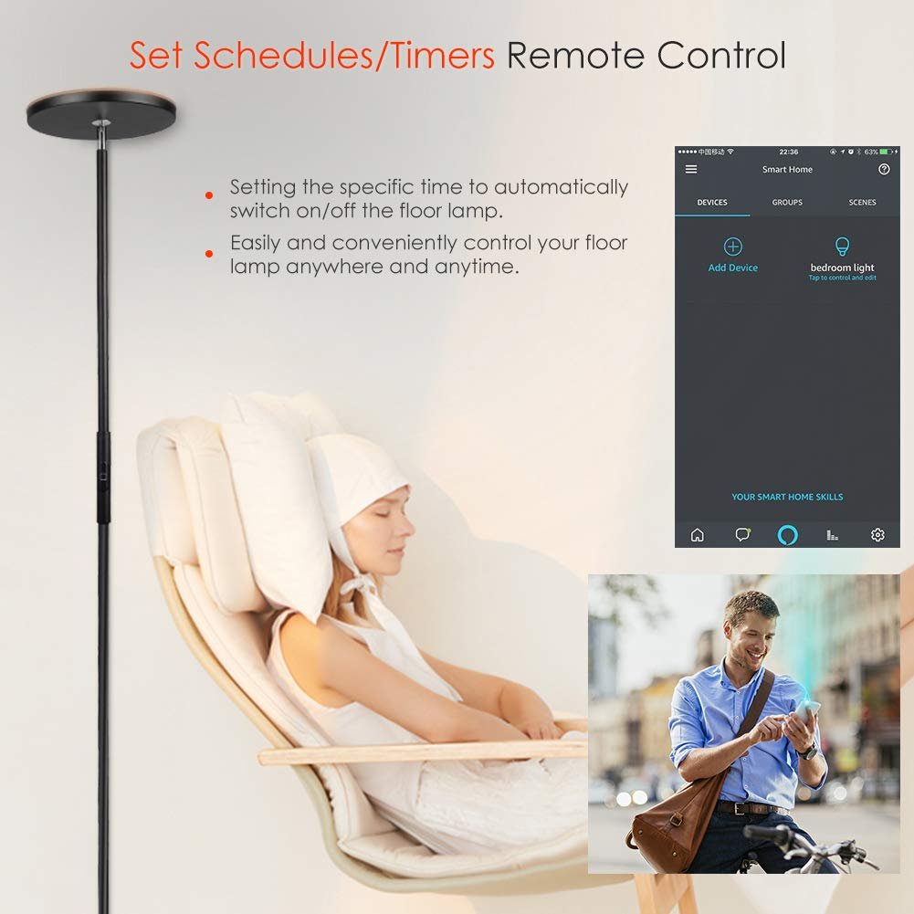 LED Torchiere Floor Lamp,TECKIN Wifi Smart Uplight Dimmable Floor lamps Compatible with  Alexa Google Home,Tall Standing Modern Pole Light Enabled Remote Control for Living Rooms /& Offices-Black