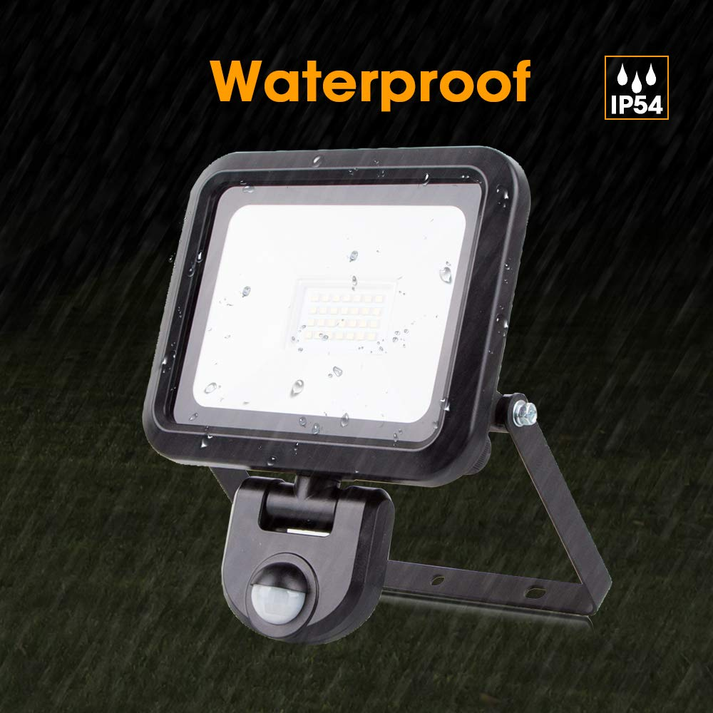 Black Doorway Backyard LED Security Light with Motion Sensor 20W 4000W 1800lumen Super Bright PIR Sensor floodlight Outdoor Without Power Cable Garage IP54 Waterproof Perfect for Garden