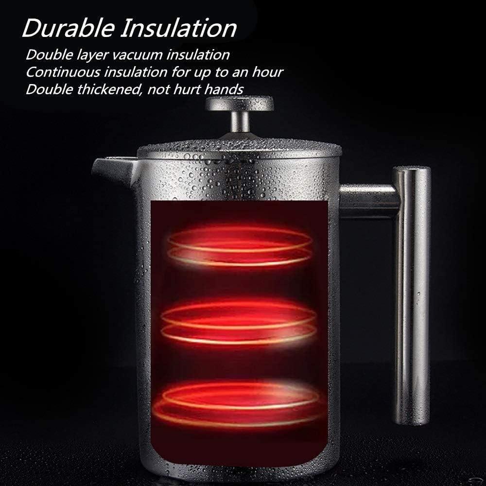 1000ml caffettiera doppio strato di acciaio inox 304 Comodo domestica tè e caffè Food Grade isolamento continuo (Color : A Photo Color) C Photo Color