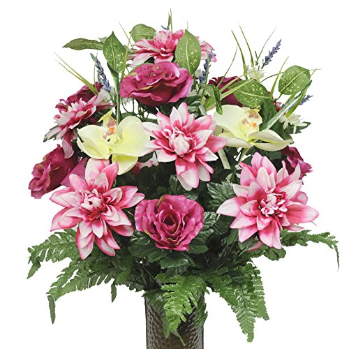 Fuschsia Roses Pink Dahlias and Orchids, featuring the Stay-In-The-Vase Design(C) Flower Holder (MD1354)