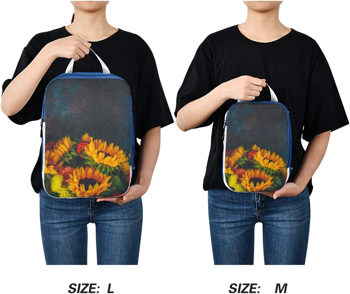 Retro Dahlia And Sunflowers 3 Set Packing Cubes,2 Various Sizes Travel Luggage Packing Organizers e