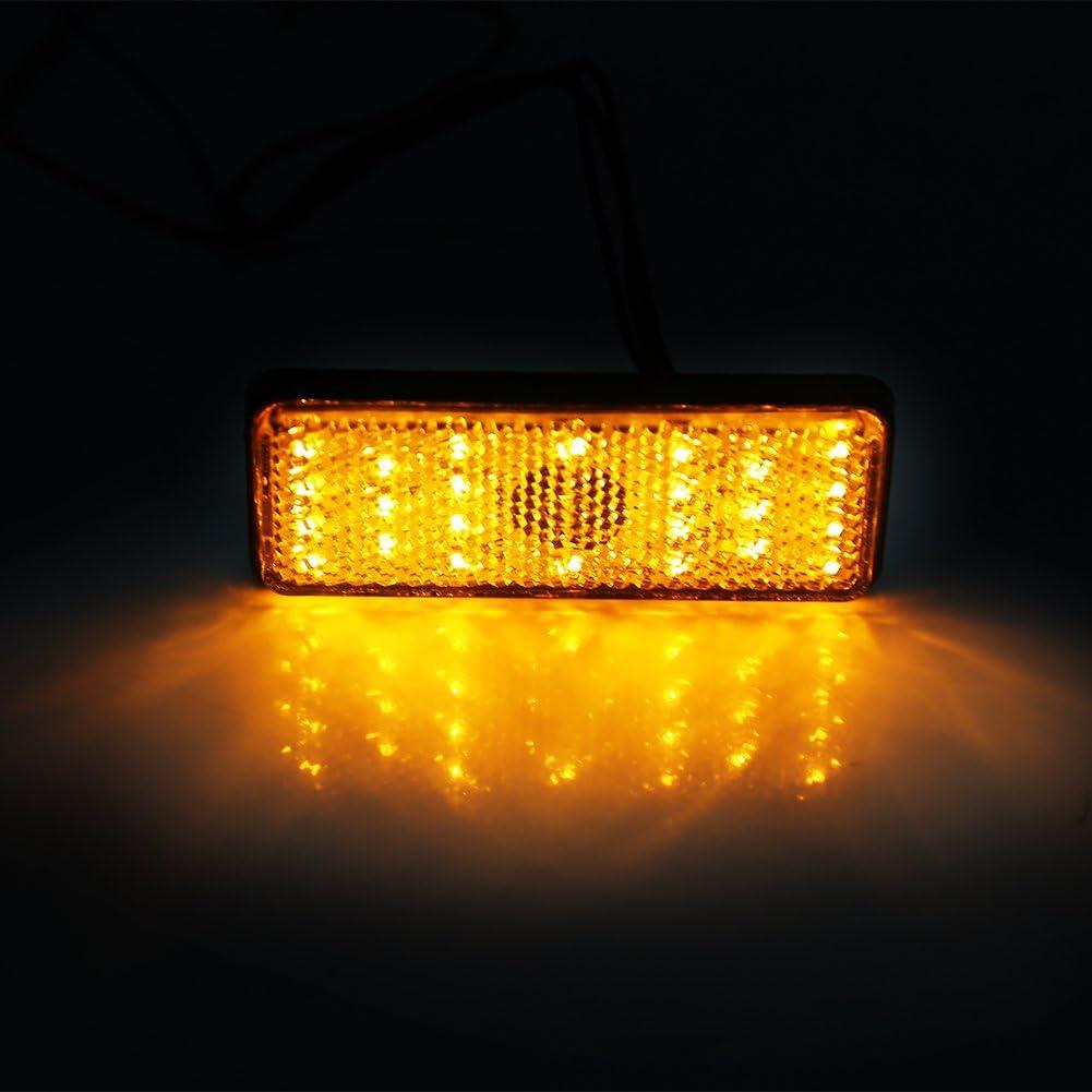 Feu Arri/ère Frein Universal Moto Scooter Cyclomoteur Rectangle LED R/éflecteur Feu Stop ambre