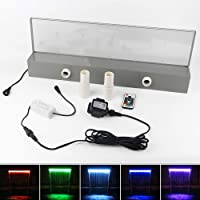 APONUO Lighted Waterfall Pool Fountain 24″ RGB LED Pool Fountain 7 Color Remote Changing Spillway for Sheer Descent(2 Connector Choose)