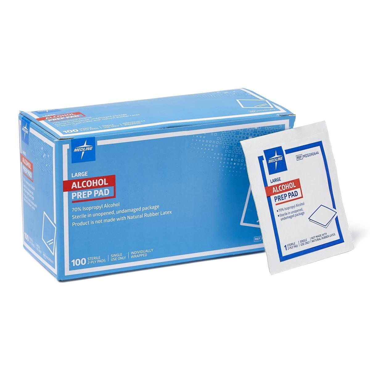 Medline MDS090670Z Pad, Prep, Alcohol, Large, 2-Ply, Sterile (Pack of 100)