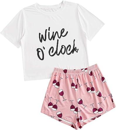 DIDK Conjunto de pijama para mujer con camiseta y pantalón corto de lunares y pantalón corto de dos piezas.