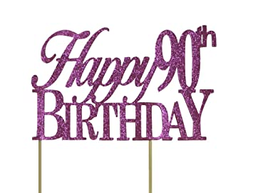 Image Unavailable Not Available For Color All About Details Pink Happy 90th Birthday Cake Topper