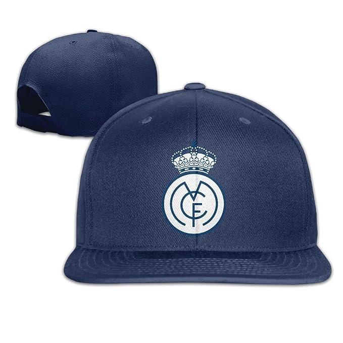 Macho/Hembra UEFA Champions League Real Madrid CF Logo algodón Plana Gorra Gorras de béisbol Ajustable Malla Sombrero Gorro Blanco Talla Única - Azul ...