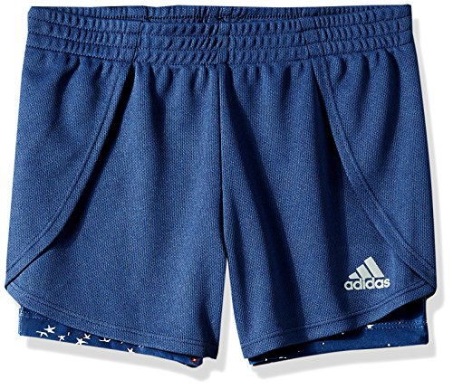adidas Little Girls' Performance 2fer Short, Noble Indigo Adi, - Adidas Indigo Shorts