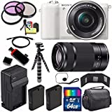 Sony Alpha a5100 Mirrorless Digital Camera with 16-50mm Lens (White) + Sony E 55-210mm f/4.5-6.3 OSS E-Mount Lens 64GB Bundle 24 - International Version (No Warranty)