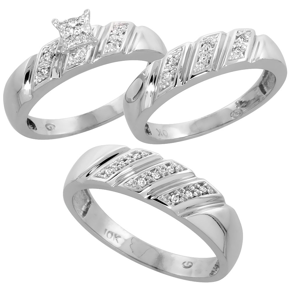10k Gold Trio Engagement Wedding Ring Set for Him and Her 3-piece 6 mm & 5 mm 0.15 cttw Ladies Size 8