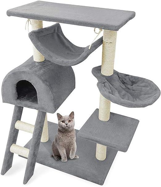 Leogreen - Árbol para Gatos, Poste Rascador para Gatos, 100 cm, 5 Plataformas, Gris, Material: MDF, Tamaño de la Hamaca: 30,0 x 30,0 cm: Amazon.es: Productos para mascotas