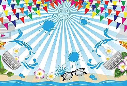 Baocicco 7x5フィート タイ Songkran 背景幕 水はねる フェスティバル パーティー 写真背景 白と青のストライプ 色付きフラグ バナー 台所用具 メガネ カビのご褒美 子供 ポートレート   B07FSZJSSF
