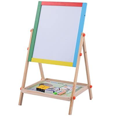 Honey Joy 2 in 1 Kids Easel, Double Sided Adjustable Chalk Blackboard & White Dry Erase Surface, Magnetic Sponge, Marker Pen, 12 PCS Chalks & Bottom Tray, Wood Standing Easel for Toddlers: Home & Kitchen