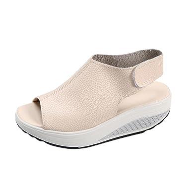 🌴🌴VENMO Mode Frauen schütteln Sandalen Fisch Mund dicke untere High Heel  Schuhe Wedge Sandalen 24a494e3d2