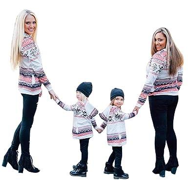 5c38888351e4 Maglia Uguale Mamma e Figlia Felpa Sportiva con Cappuccio Donna Ragazza  Pullover Collo Alto T Shirt Fiocco di Neve Natale Vintage Sweatshirt Tumblr  ...