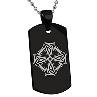 Black Stainless Steel Celtic Cross Triquetra Knot Symbol Engraved
