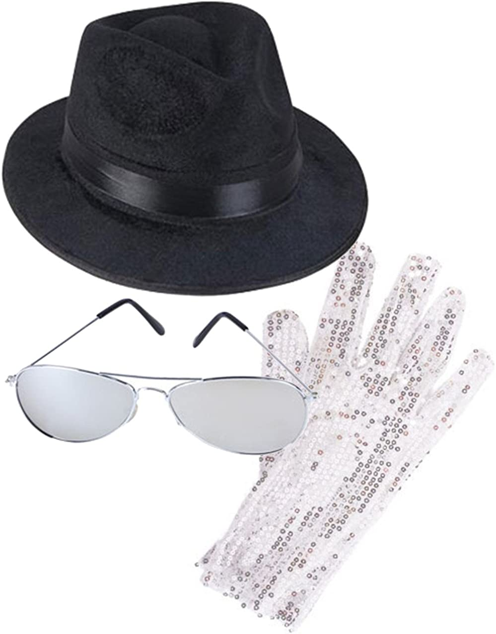 MJ King of Pop Costume Bundle with Fedora Hat Glove and Sunglasses Black/Silver