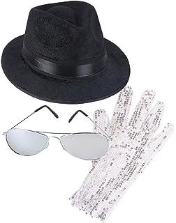 0f991e32d46 Rhode Island Novelty MJ Michael Jackson Costume Bundle With Fedora Hat  Glove and Sunglasses