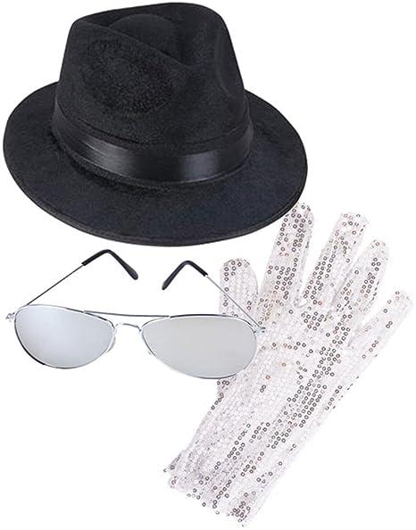 d623b37eb9f Amazon.com  Rhode Island Novelty MJ Michael Jackson Costume Bundle With Fedora  Hat Glove and Sunglasses  Clothing