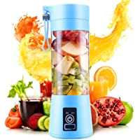 Portable Blender, Personal Size Electric USB Juicer Cup,380ml Fruit Mixing Machine with 4 Blades for Travel & Household, Rechargeable USB Juicer Mixer for Fruits and Vegetables